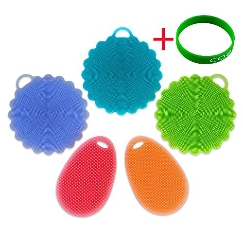 MAYBEST 5 Piece Silicone Sponges, Food-Grade Antibacterial Silicone Dishwashing Scrubber, Multipurpose Non Stick Mildew-Free Brush for Kitchen Wash, Pot/Pan/Dish Bowl/Wash Fruit and Vegetable