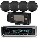 Kenwood Single din Bluetooth in-Dash CD/AM/FM/Digital Media Marine Stereo Receiver, 4X Enrock Marine Black Dual 6.5'' Full Range 250W Speakers, Radio Cover