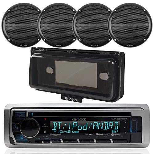 Kenwood Single din Bluetooth in-Dash CD/AM/FM/Digital Media Marine Stereo Receiver, 4X Enrock Marine Black Dual 6.5