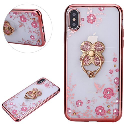 Price comparison product image iphone X Case,IKASEFU Fashion Bling Diamond Slim Back Shockproof Luxury Sleek Glitter Sparkly Pink Flower Shiny Soft TPU silicone With Clover Ring Holder Bumper Protective Cover for iphone X,rosa gold