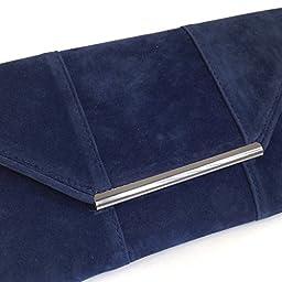 Faux Microsuede Envelope Clutch, Navy