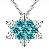 GRAS Collection Snowflake Necklaces with Swarovski Pendant and Black Gift Bag, Perfect Gift