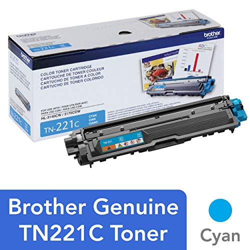 Brother TN-221 Toner Cartridge (Cyan, 1 Pack) in Retail Packaging
