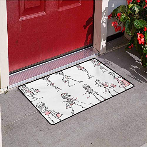 (Girls Inlet Outdoor Door mat Cartoon Girls with High Heel Shoes Glamour Fashion Urban Life Catwalk Style Picture Catch dust Snow and mud W29.5 x L39.4 Inch Pink White )