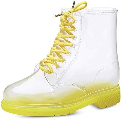 Mujer Botas De Lluvia Moda Transparente Cordones Botas PVC Impermeable Transpirable Cocina Jardín Al Aire Libre Wellington Botas De Agua 7 Colores: Amazon.es: Zapatos y complementos