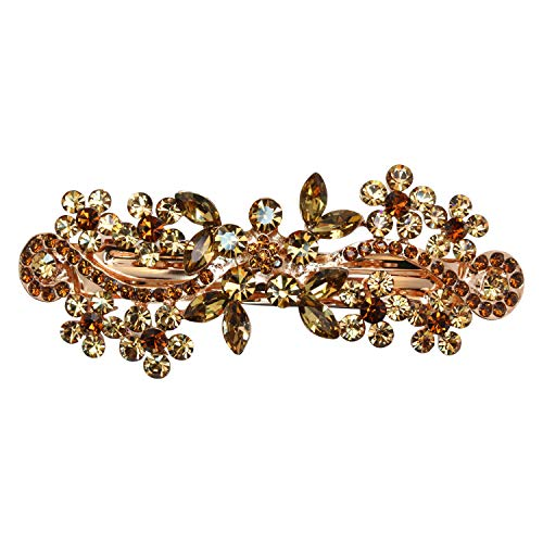 (Faship Gorgeous Smoked Topaz Color Brown Rhinestone Crystal Floral Hair Barrette Clip - Smoked Topaz)