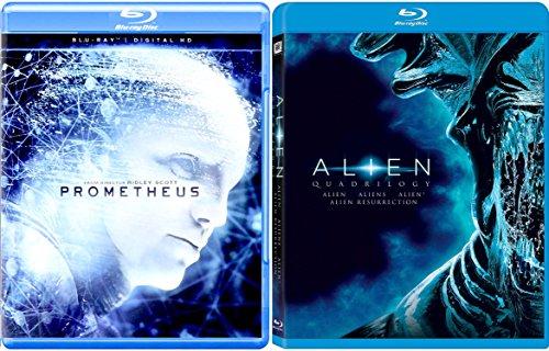 Alien Quadrilogy + Prometheus Sci-Fi Horror Blu Ray DVD Movie Set