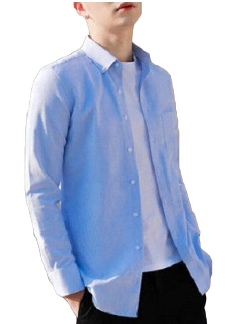 Gocgt Men Oxford Long Sleeve Button Down Casual Dress Shirt