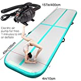 FBSPORT Airtrack Tumbling Mat Inflatable Gymnastics Air Track Flooring Mat with Electric Air Pump for Gym/Yoga/Training/Kids/Sport 14M Length