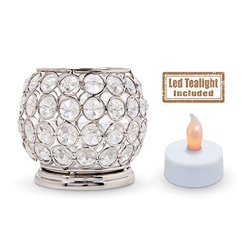 Crystal Look Elegant Tealight Holder - Silver Color Steel Small Bowl Shaped Candle Votive (Flameless Battery Operated Tea Light - Bowl Small Light