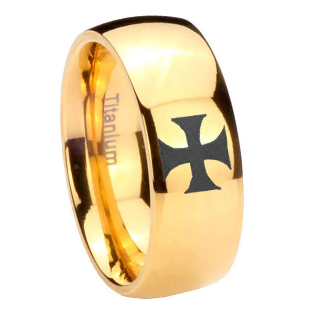 Gold IP Titanium Maltese Cross Dome Engraved Ring Size 4 to 13 6MM, 8MM