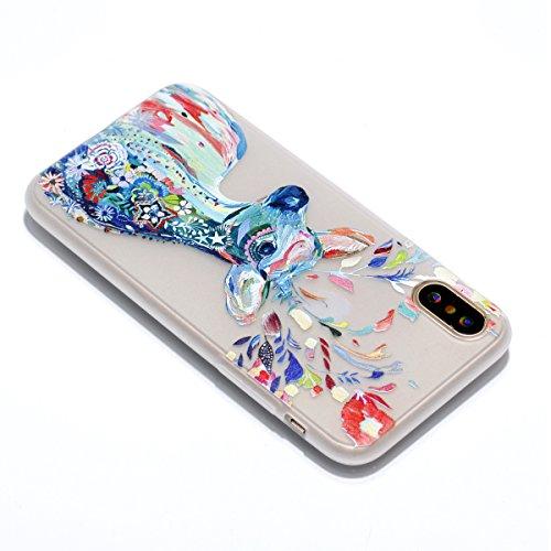 iPhone X Hülle , Leiai Hirsch Fluoreszenz TPU Transparent Weich Tasche Schutzhülle Silikon Handyhülle Stoßdämpfende Schale Fall Case Shell für Apple iPhone X