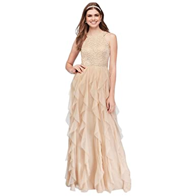 Davids Bridal Glitter Lace And Mesh Prom Dress With Cascading Skirt