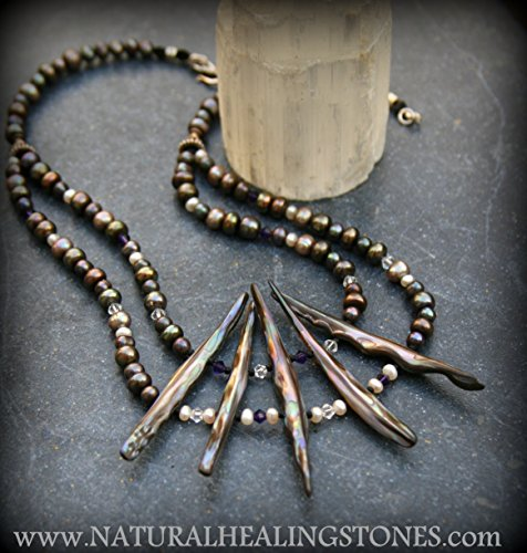 Double strand pearl necklace with paua focal pieces and swarovski crystal accents ~ONE OF A KIND JEWELRY FOR THE MEDITATIVE SPIRIT~Free Shipping
