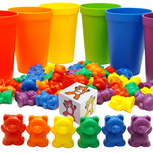 Skoolzy Rainbow Counting Bears with Matching Sorting Cups, Bear Counters and Dice Math Bears Game 70pc (Old Teddy Bear)