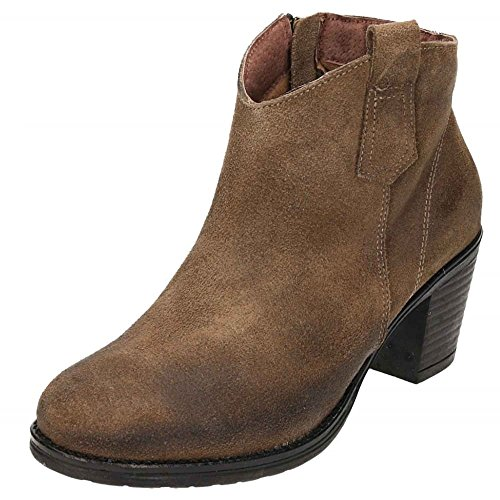 Cowboy Leather jwf Boots Heel Brown Ankle Chelsea Suede Block IPIwF5xfq
