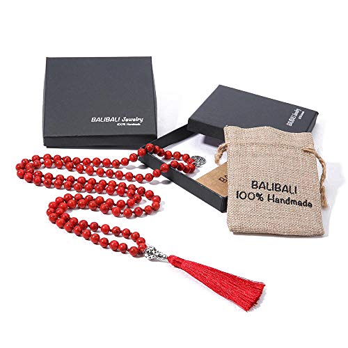 BALIBALI 108 Mala Beads Necklace Semi-Precious Gem Stones Meditation Necklace 108 Hand Knotted Japa Mala Beaded Tassel Necklace with Tree of Life Pendant (Red -