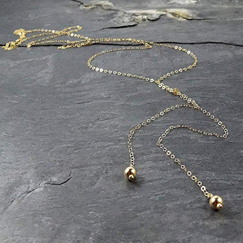 (Long Gold Lariat Beaded Necklace Jewelry Gift for Women )