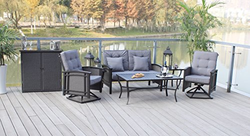 6pc Aluminum and Wicker Rocking Patio Furniture Deep Seating Conversation Set with Serving Bar