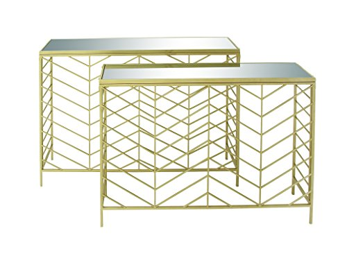 Deco 79 65498 Metal Glass Console Tables (Set of 2), 39