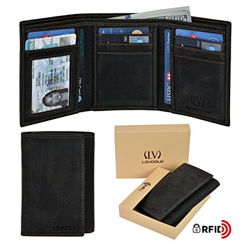 Genuine Leather RFID Blocking Slim Trifold Wallet for Men with 7 Cards+1 ID Window+2 Note Compartments (Black Oily Hunter)