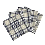 Roostery Rustic Woods Woodland Plaid Navy Tan Beige Littlearrow Organic Sateen Dinner Napkins Fall Plaid Navy, Tan, White by Littlearrowdesign Set of 4 Dinner Napkins