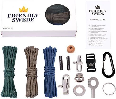 The Friendly Swede Kit Paracord Hazlo-TúMismo: 3 Cuerdas + 10 Accesorios Esenciales para Hacer Tu Propios Gadgets + Instrucciones Básicas