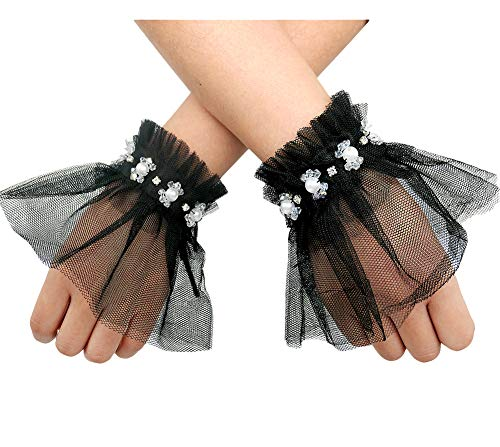 L'VOW Women's Gothic Lace Mesh Stretch Wrist Cuffs