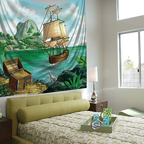 (AngelSept Wall Tapestry Decorative Art Prints can be Hung on The Bedside of Dormitory,Pirate,Exotic Seacoast with Chest Full of Gold Old Vessel Tropic Nature Wealth Landscape,Multicolor)