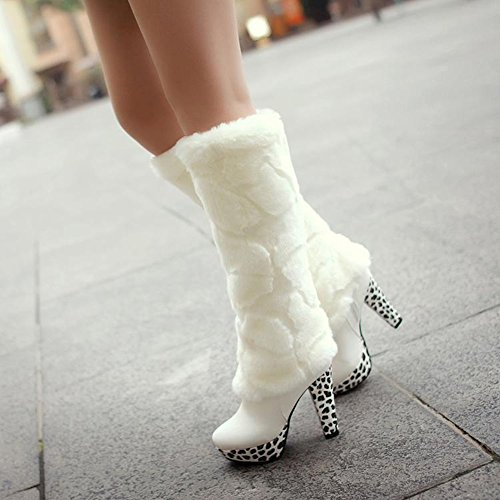 Boot Women's Rounded White Toe Fur Platform Use Faux High for Winter Multi Stiletto Ankle Overknee Heel Fall wrqwB7A