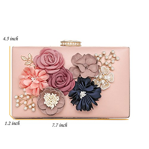 Clutch Women's Bride Handbag Beaded Evening Bags Pink Pearl Evening Flower Wedding S543 For Satin Prom CqtqA