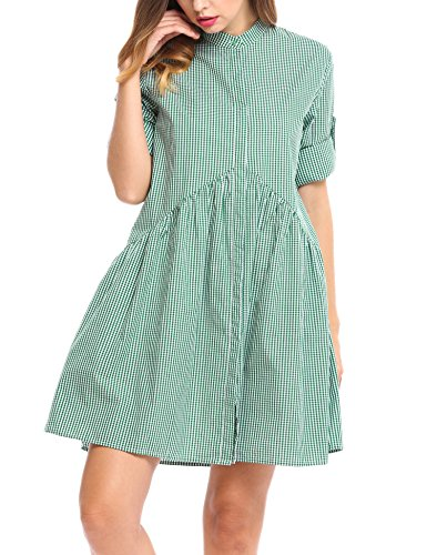 fcb0142b4c8 ... ACEVOG Women s Long Sleeve Plaid Button Down A-Line Shirt Dress Green.  Product 72 7363. prev · Product List · next. Model  B072NZT4HL ...