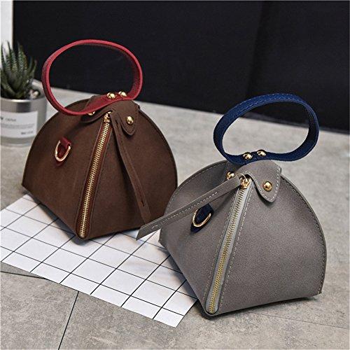 Umhängetasche Braun Yiliay Klein Mini Dreieck Handtasche Mattiertes Tuch Mode Schultertaschen AAwzx70