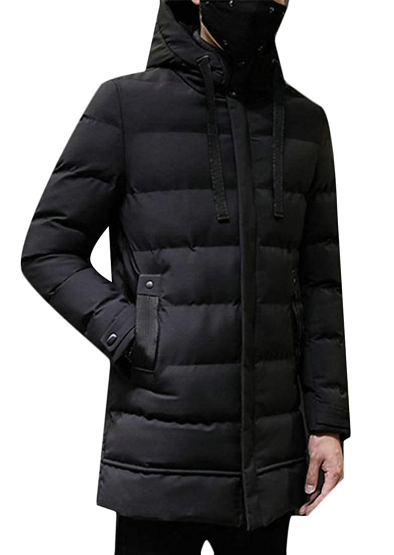 Macondoo Men Parkas Quilted Mid-Long Outerwear Thicken Hoodie Down Jacket