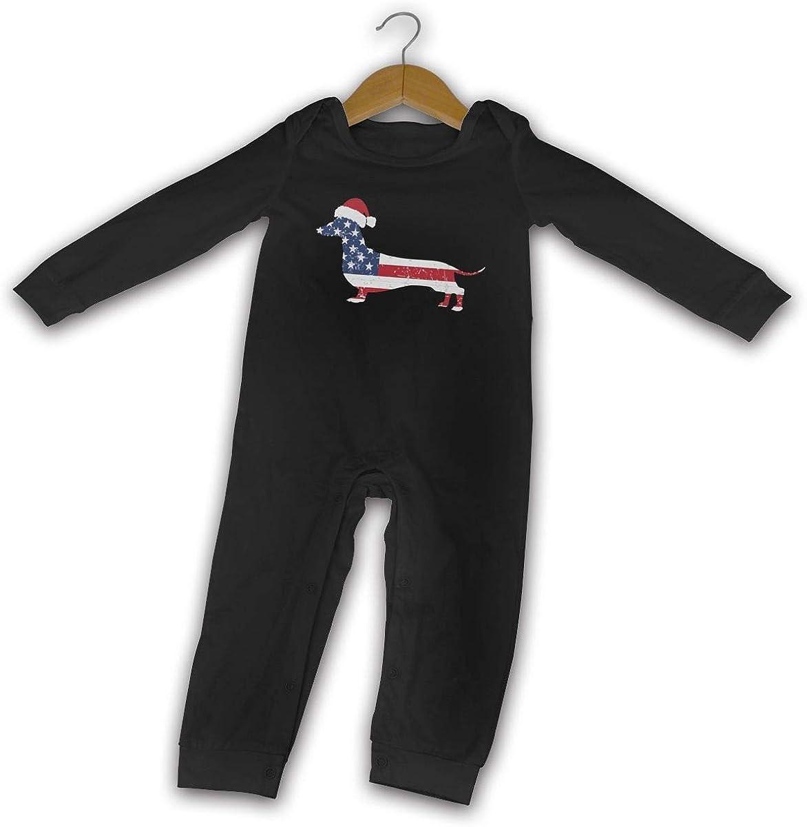 GOOD BBBaby Infant Baby Boy Girl Printed American Flag Dachshund Bodysuit Romper Jumpsuit 519xUUdLCHL