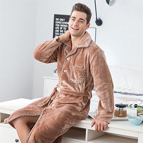 lunghe Touch accappatoio accappatoio pigiama inverno maniche coppia Lapel Addensato large DDOQ a Rosa notte xx Apricot camicia flanella da Soft 4wq5YRxv
