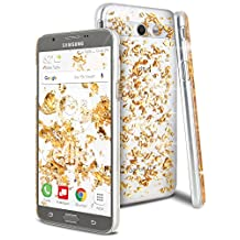 Galaxy J7 2017 Case, Galaxy J7 V Case, Galaxy J7 Sky Pro Case, Galaxy J7 Perx Case, Celljoy [Metallic Flake] High Density {Scratch-Resistant} Acrylic Deluxe Protective Clear Thin Hard Cover (Gold)