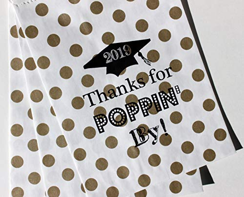 - Bakers Bling 2018 Graduation Party Favor Bags with Stickers, Thanks for Poppin By, Gold Polka Dot, 5.5 x 7.5, Set of 48