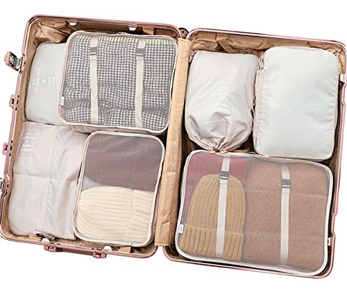 Luggage Organizers, 7 Set Packing Cubes for Travel With Shoe Bag, Compression Cells, Accessories Bags Made With Wearable Waterproof Material. Perfect for Travel, Long Trips, Camping (Beige - 7)