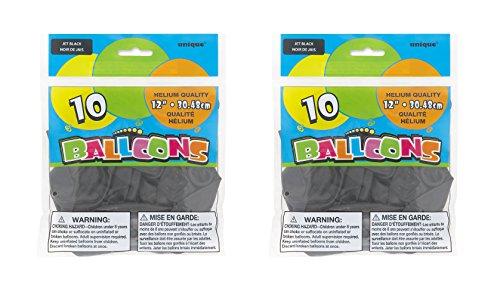 Unique 12 inches Latex Black Balloons, 20ct.