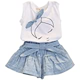 Jastore® Girls Cute Bow Girl Pattern Top+Grid Shorts Kids Clothes Clothing Sets (5-6T)