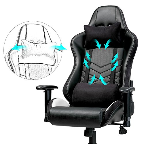 519xVUOjU6L - Merax-Executive-Gaming-Chair-PU-Leather-and-Fabric-Racing-chair-Ergonomic-Design-Office-Chair-with-Adjustable-Armrests