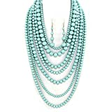 Statement Beaded Layered Strands Turquoise blue Pearl Beads Long Necklace Set (Turquoise Blue)