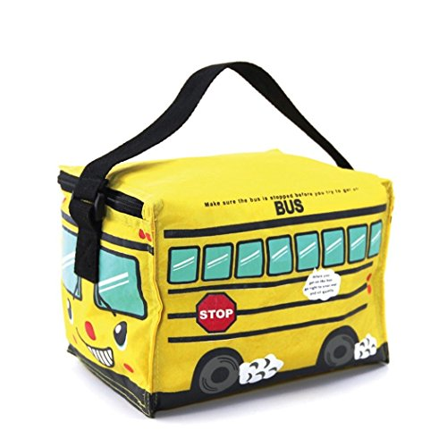 Cute Yellow Bus Insulated Full Zipper Top Closure Adjustable Handle Lunch Bag