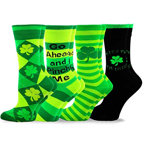 TeeHee St. Patricks Day Cotton Crew Socks Assorted 4-Pair Pack (9-11) -