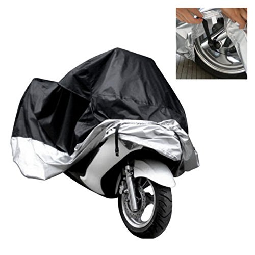 DPIST Motorcycle Motorbike Scooter Waterproof UV Dust Protector Anti Rain Cover XXL For Yamaha harley-davidson Outdoor Indoor Black Silver,XL-For motor length: 6.9ft(2.1m)