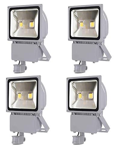 4X 100W Foco LED con Sensor Movimiento, Proyector LED Exterior de ...