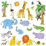 Decowall,DW-1513,Jungle Animals peel & stick Nursery wall decals stickers