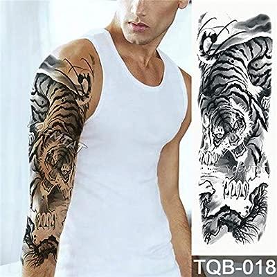 Brazo grande Tatuaje Manga Dibujo Tigre León Papel impermeable ...