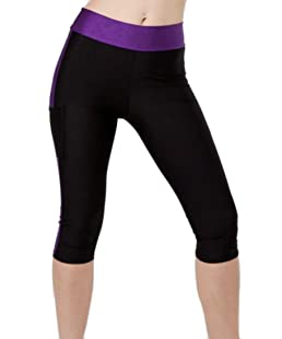 Big Tang Womens Sport Running Stretchy Quick Dry Butt Lift Leggings Capri Pants Purple S
